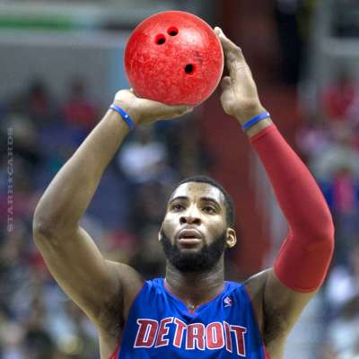 Pistons center Andre Drummond bowling.