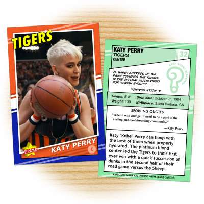 Basketball card of Tigers center Katy Perry