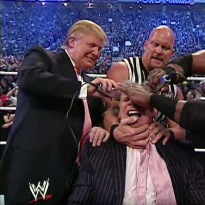 Donald Trump shaves Vince McMahon's head at WrestleMania 23
