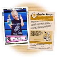 Fan card of 7-year-old Illinois state champion wrestler Angelina Kelley