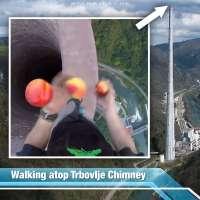 Faviu Cernescu juggles peaches atop the Trbovlje Chimney in Slovenia
