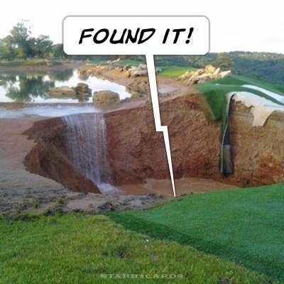 Golf course sinkhole in Branson, Missouri