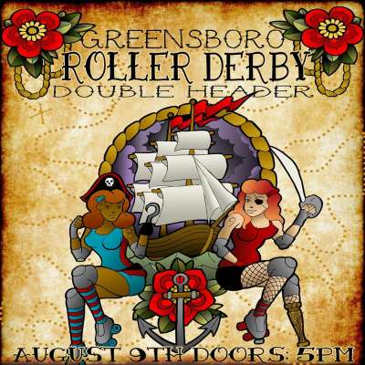 Greensboro Roller Derby poster for double header bout