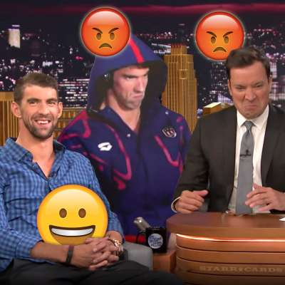 Michael Phelps joined by his angry face on the 'Tonight Show Starring Jimmy Fallon'