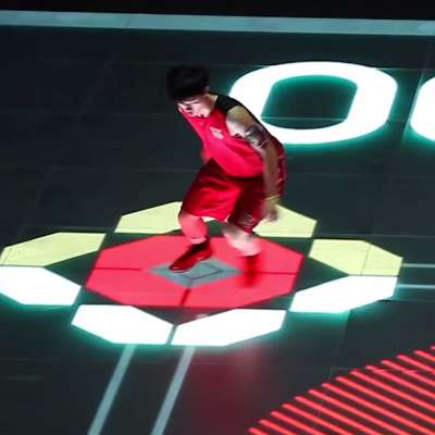 Nike's full-sized LED basketball court in the House Of Mamba