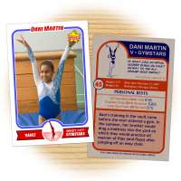 Gymnastics card template from Starr Cards Gymnastics Card Maker.
