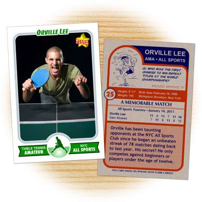 Table tennis card template from Starr Cards Table Tennis Card Maker.