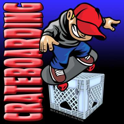 Skateboarding on a crate equals crateboarding