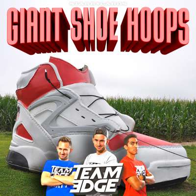 Team Edge plays basketball in giant-sized shoes