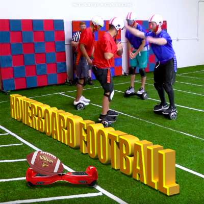 Team Edge plays hoverboard football on indoor field