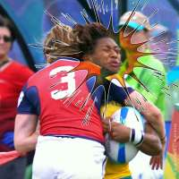 Team USA rugby's Kathryn Johnson puts the hurt on Australia's Ellia Green