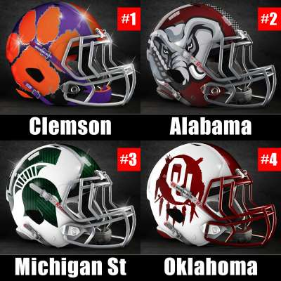 2015 College Football Playoff will include Clemson, Alabama, Michigan State and Oklahoma