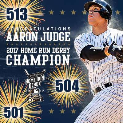 Aaron Judge hits homers of 501, 504 and 513 feet at 2017 Home Run Derby