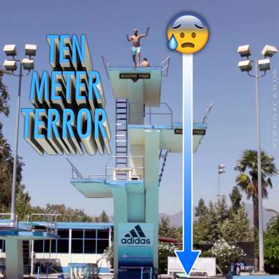 Amateur divers try the ten meter tower in Mission Viejo, California