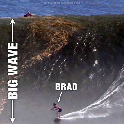 Brad Domke skimboarding a big wave in Mexico