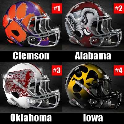 College Football Playoff Top Four with Clemson, Alabama, Oklahoma, Iowa