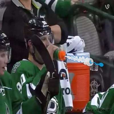 Dallas stars center Jason Spezza tries wrong end of water bottle