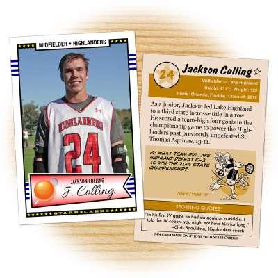 Fan card of Lake Highland Highlanders lacrosse midfielder Jackson Colling
