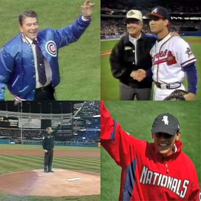 First pitches with Ronald Reagan, Jimmy Carter, George Bush and Barack Obama