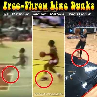 Free-throw line dunks starring Julius Erving, Michael Jordan and Zach LaVine