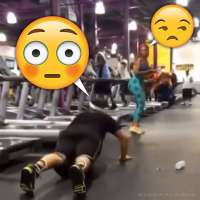 Guy does pushups after treadmill fail