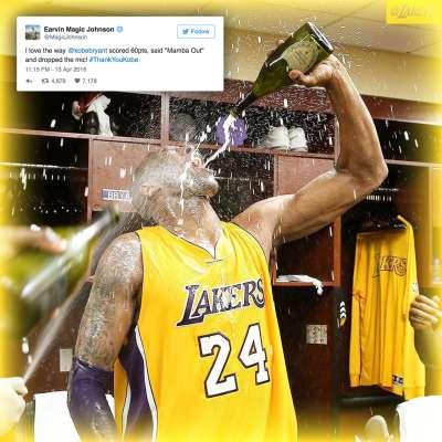Kobe Bryant celebrates after scoring 60 points in his final NBA game
