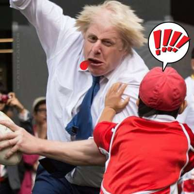 London mayor Boris Johnson crushes Japanese kid during touch rugby match