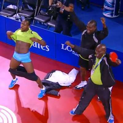 Ojo Onaolapo celebrates with dropped shorts