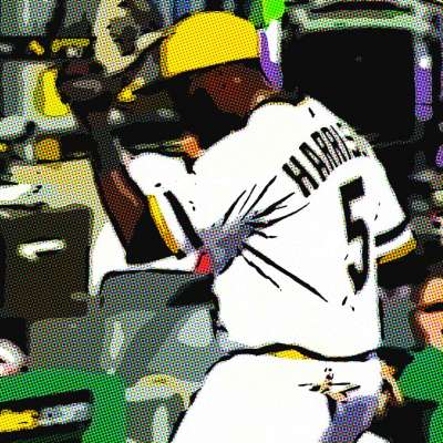 Pirates third baseman Josh Harrison enters dugout after triple play