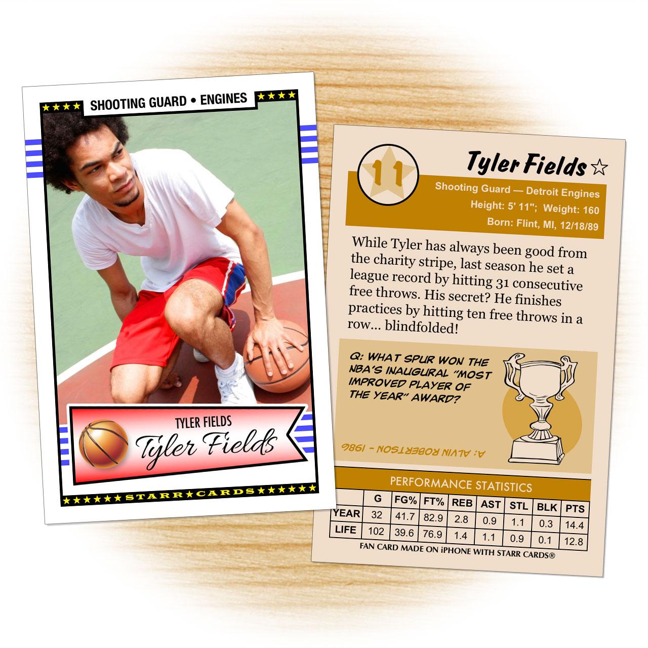 Basketball card template from Starr Cards Basketball Card Maker.