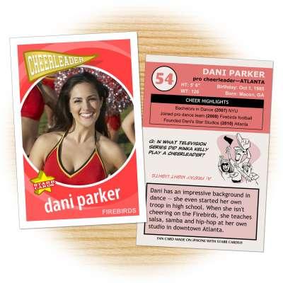 Cheerleader card template from Starr Cards Cheerleader Card Maker.