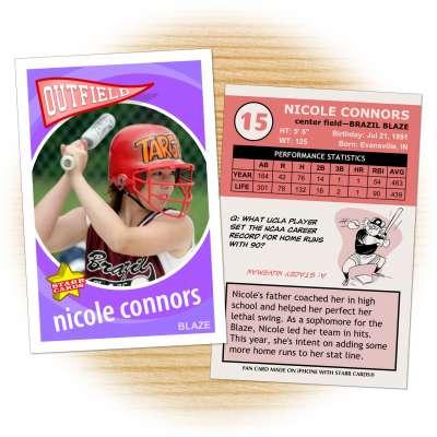 Softball card template from Starr Cards Softball Card Maker.