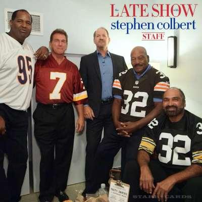 Richard Dent, Joe Theismann, Jim Brown on 'Late Show with Stephen Colbert' staff