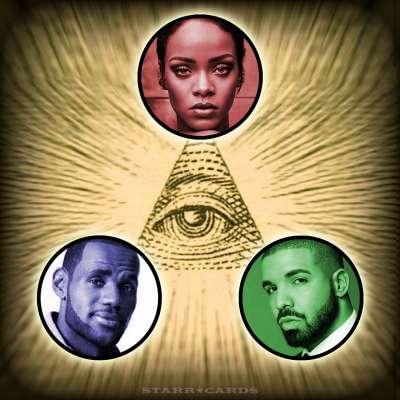 Rihanna, LeBron James, Drake Illuminati triangle