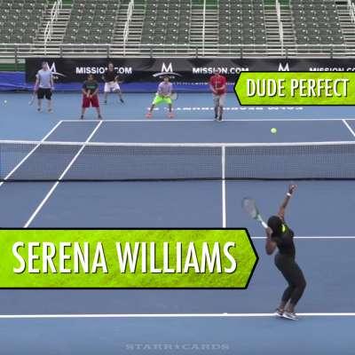 Serena Williams vs Dude Perfect in tennis trick shots video
