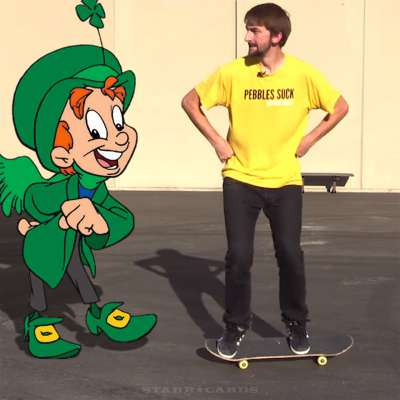 Skateboarding trick with Lucky the Leprechaun