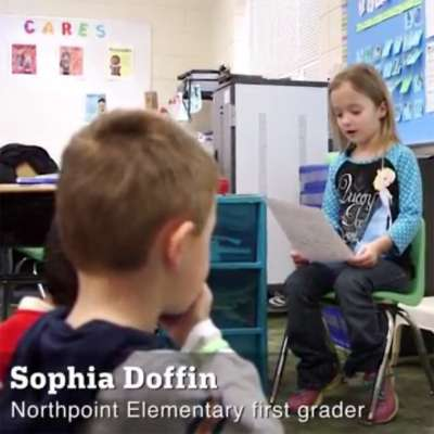 Sophia Doffin reads letter to Minnesota Vikings kicker Blair Walsh