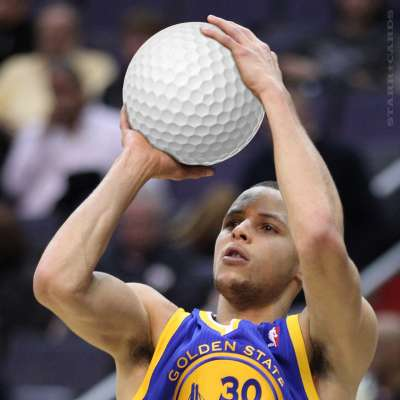 Steph Curry shoots a golf ball