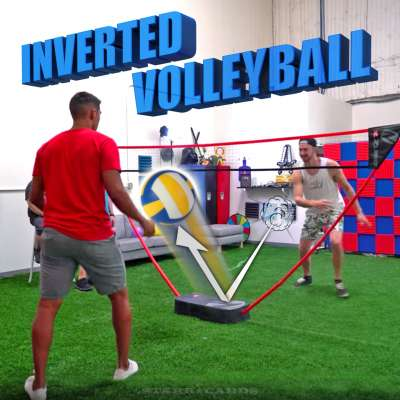 Team Edge plays inverted volleyball with a balloon