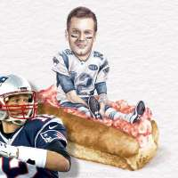 Tom Brady gets ready to throw a football in front of Tom Brady sitting on a sandwich