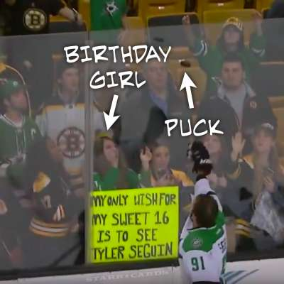 Tyler Seguin throws Kathryn a puck on her 16th birthday