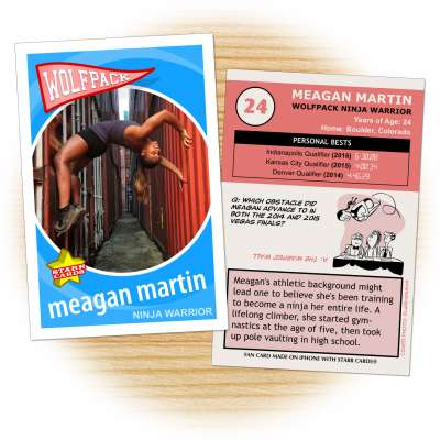 Wolfpack Ninja Warrior Meagan Martin fan card