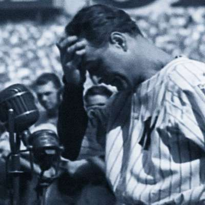 "Yankees legend Lou Gehrig delivers his famous ""Luckiest Man"" speech."