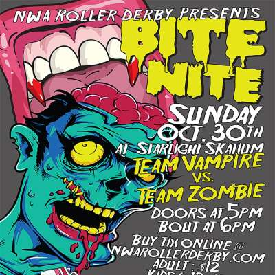 Zombie-inspired roller derby posters